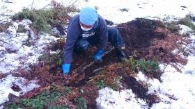 かっちゃんが、土の中に埋まっているパイプを掘り起こしております! 何が出るかな♫何が出るかな♫ チャラチャチャッチャ~チャラチャチャ~♫