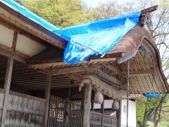 拝殿の屋根部分です。この下には絶対に入らないでください。