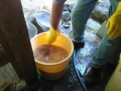お湯の準備も概ね整ったところでスタート!まずは塩水にモミを全て入れます。入れたらすぐにかき混ぜます。
