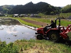 まずは農家の方にやり方を見せていただきました。トラクターというのは、かなり旋回性能が良く、田んぼのギリギリでも回ることができます。