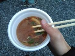 猪汁頂きました。ほぼ食べ終わってから撮影した写真ですが、美味しかったです♪